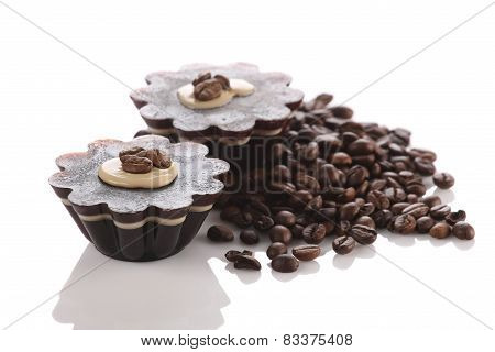 Coffee Dessert Closeup On White Background Isolate