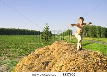 Boy Jump On A Hayrick And Throw A Straw