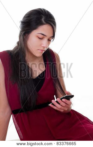 Teen Girl In Red Dress Holding Cellphone