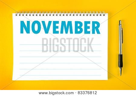 November Calendar Blank Page