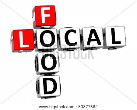 3D Crossword Food Local On White Background