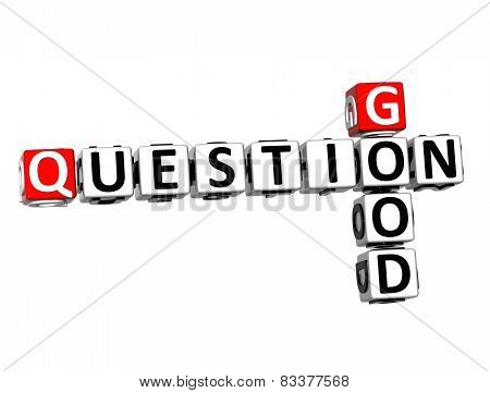 3D Crossword Good Question On White Background