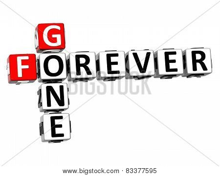 3D Crossword Forever Gone On White Background