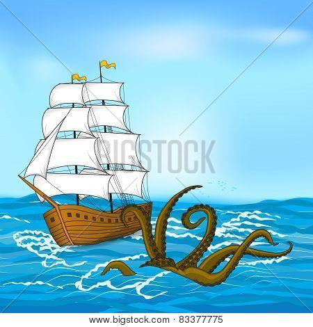 Vintage Sailing Ship And Kraken At Sea