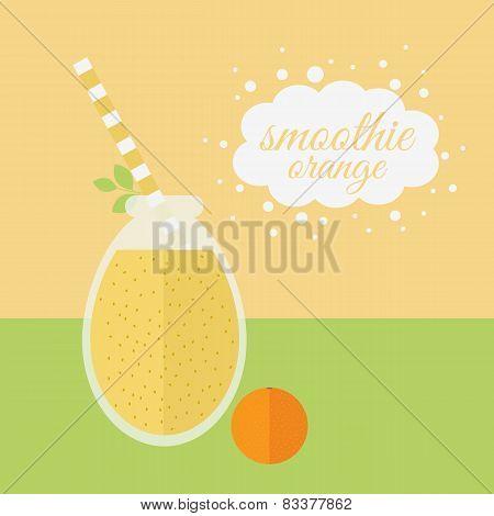 Orange Smoothie In Jar On A Table