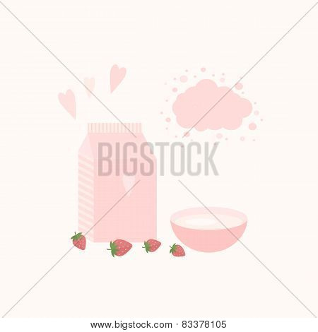 Vector Illustration With Yoghurt And Strawberries