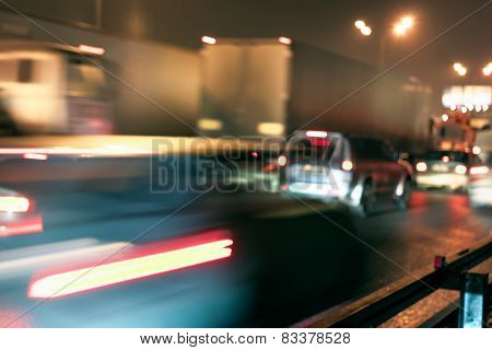 Obstruction Concept In Night Traffic Street At The Moscow Automobile Ring Road (mkad)