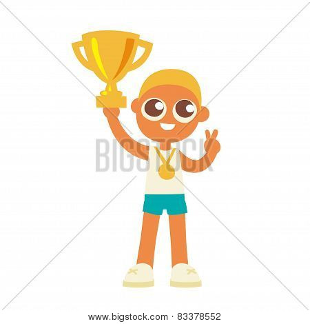 championship winner boy hold a golden goblet