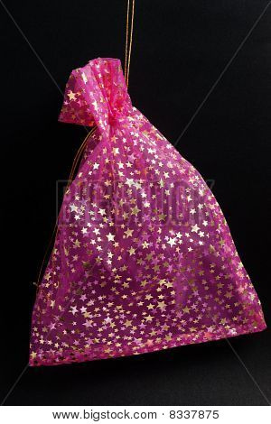 Pink Pouch With Golden Stars On Black