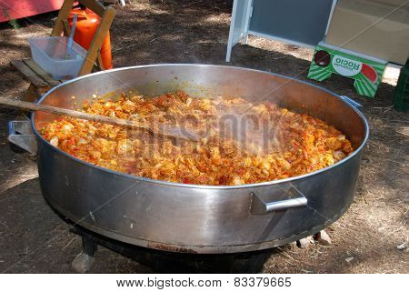 Large paella cooking, Marbella.
