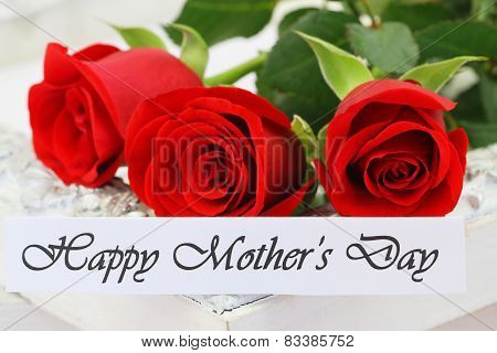 Happy Mother's day card with red roses