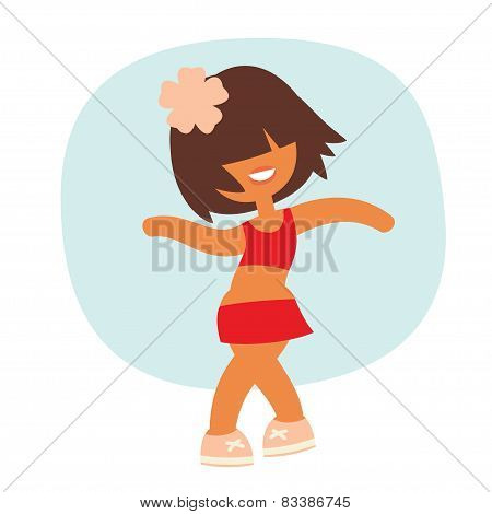Cartoon kid style sporty dancing beautiful girl character