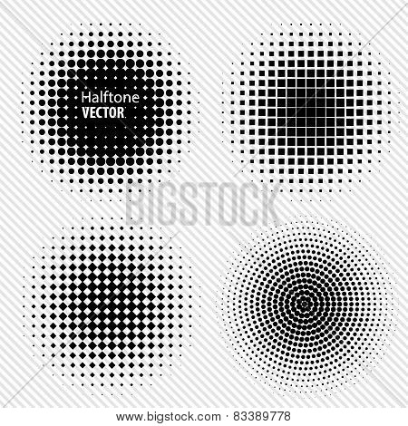 Set of Black Abstract Halftone Circles Logo, vector illustration