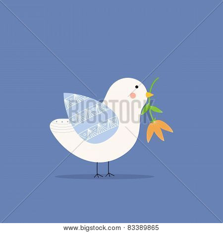 Bird holding a flower