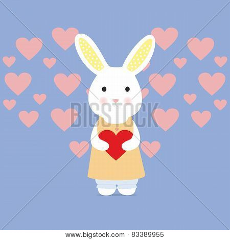 Cute rabbit with heart