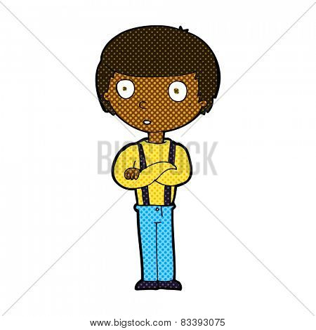 retro comic book style cartoon staring boy with folded arms