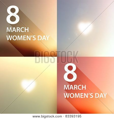 International Women's Day, 8 March. Smooth Spring Blue Sky Set, Blurred Digit 8 and Label for Holiday Design. Abstract Backgrounds Collection.