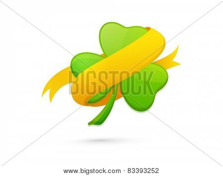 Shiny green shamrock leaf with golden ribbon on white background for Happy St. Patrick's Day celebrations.