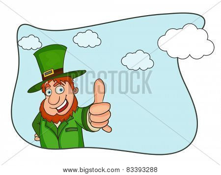 Happy Leprechaun's showing thumbs up, Creative St. Patrick's Day celebrations concept.