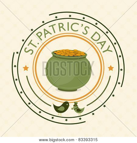 Clean rubber stamp for St. Patrick's Day celebrations with mud pot full of golden coins on beige background.