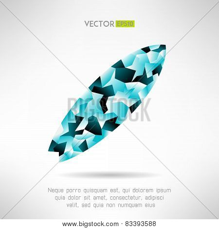 Surfboard icon in modern polygonal design. Abstract surfing board sign. Vector illustration