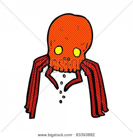 retro comic book style cartoon spooky skull spider