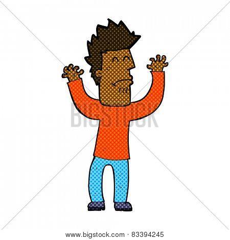 retro comic book style cartoon stressed man