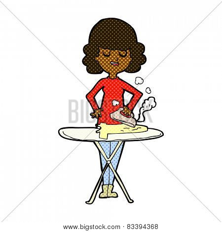 retro comic book style cartoon woman ironing