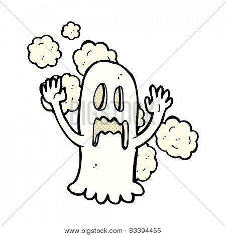retro comic book style cartoon spooky ghost