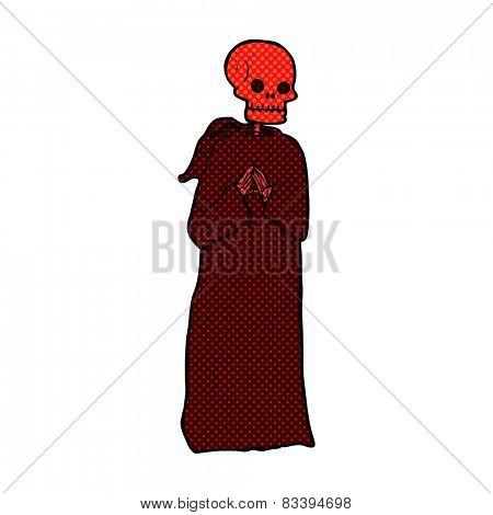retro comic book style cartoon spooky skeleton in robe