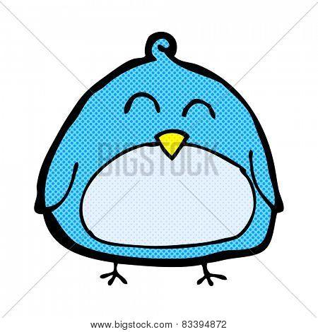 funny retro comic book style cartoon bird