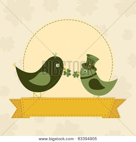 Cute bird couple in leprechaun hats, holding shamrock leaves in their beak on vintage seamless background.