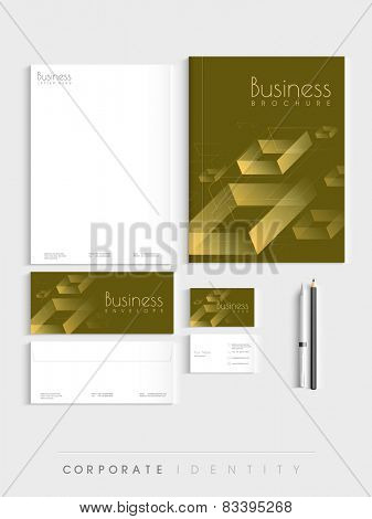 Professional brown corporate identity kit for your business includes Letterhead, Brochure, Envelopes, Visiting Cards and stationary.