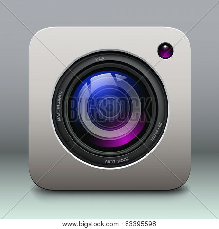 Photo camera icon - vintage, retro vector design.