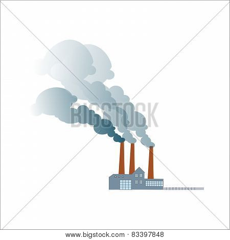Smoking Dirty Polluting Plant Or Factory