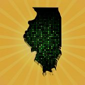 picture of illinois  - Illinois sunburst map with hex code illustration - JPG