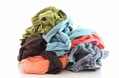 stock photo of dirty-laundry  - a pile of dirty clothing isolated on white background - JPG