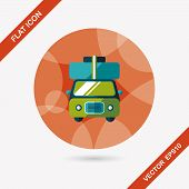 picture of caravan  - Caravan Car Flat Icon With Long Shadow - JPG