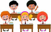 stock photo of cartoon people  - Vector illustration of School children cartoon in classroom at lesson - JPG