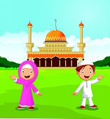 picture of muslim kids  - Vector illustration of Happy cartoon Muslim kids waving hand in front of mosque - JPG