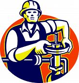 picture of pipefitter  - Illustration of a pipefitter oil worker tightening pipeline pipe valve set inside oval done in retro style - JPG