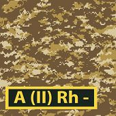 image of breastplate  - Badge of the second group of blood with a negative Rh on a light brown camouflage background - JPG