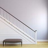 foto of stairway  - White stairway in the modern house - JPG