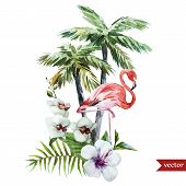 pic of pink flamingos  - Beautiful vector watercolor pattern with flamingo palm and flowers - JPG