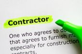 pic of discipline  - contractor word highlighted on the white background - JPG