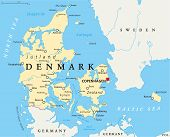 Постер, плакат: Denmark Political Map