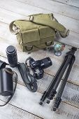 picture of megapixel  - Bag and appliances for photography top view - JPG