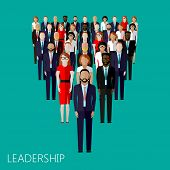 picture of politician  - vector flat illustration of a leader and a team - JPG