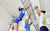 pic of volleyball  - volleyball game sport with group of young beautiful girls indoor in sport arena - JPG