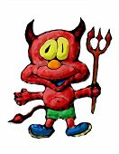 picture of trident  - Ilustrated red devil with trident in cartoon style - JPG